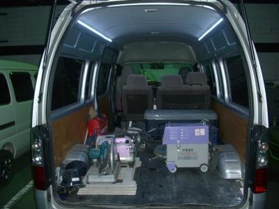 荷台灯として利用例です!夜間の荷物の出し入れ・作業に最適です!