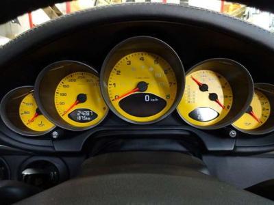 ボディ同色のメーターパネルは非常にオシャレで運転するたびにワクワクさせられます。